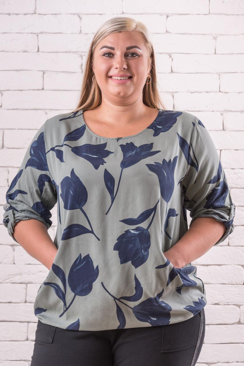 Женская блуза 52-58 оверсайз хаки