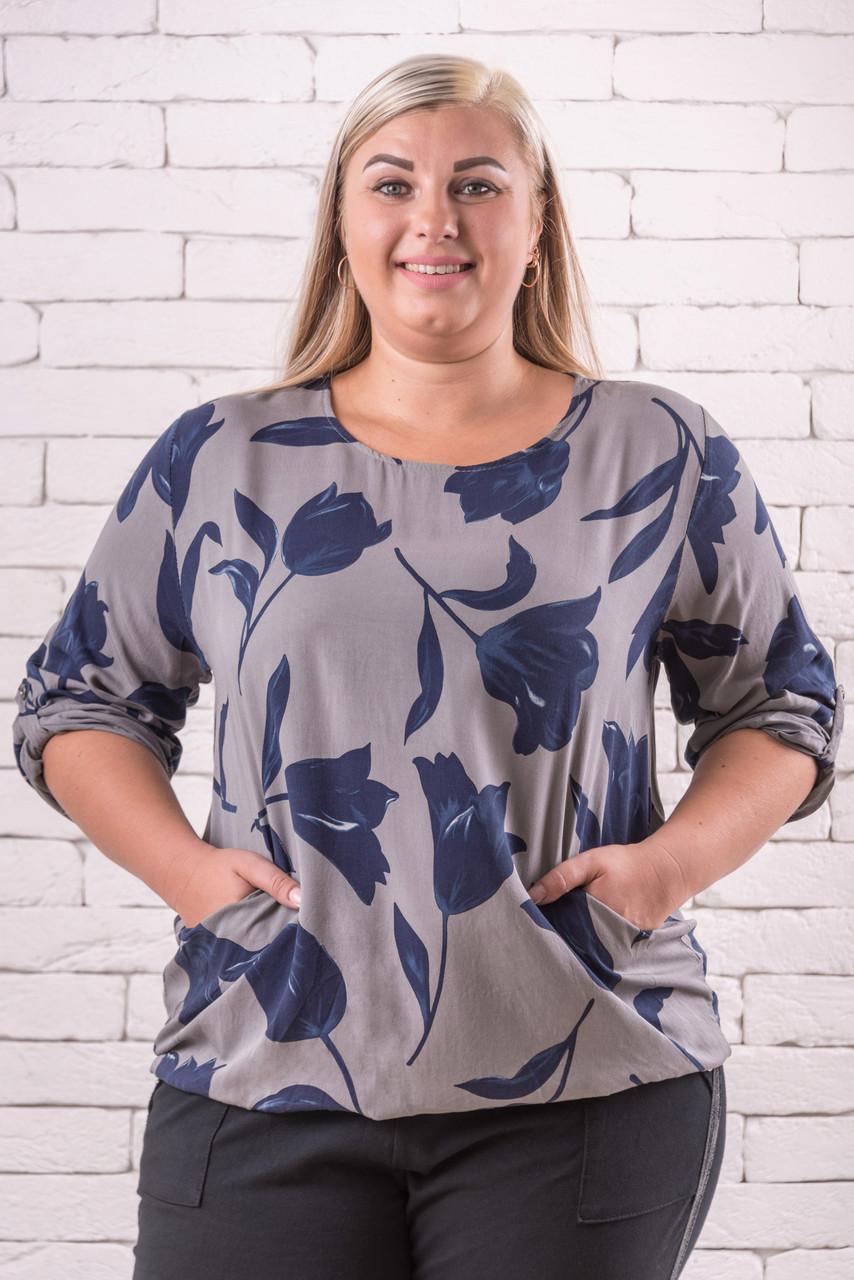 Модные блузки женские большого размера  52-58 оверсайз серый