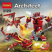 """Конструктор  DECOOL КРЕАТОР ARCHITECT 3120  """"Огненная легенда"""", 3 в 1, 486 деталей"""