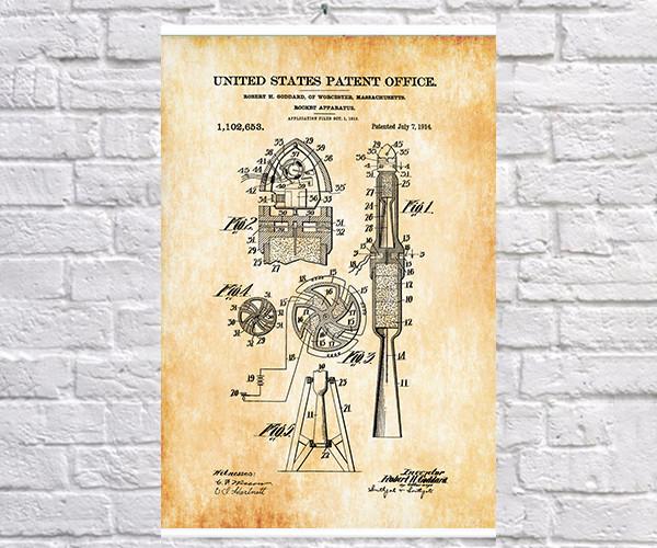 Постер BEGEMOT Патент-чертеж Ракета 40x61 см Желтый (1120556)