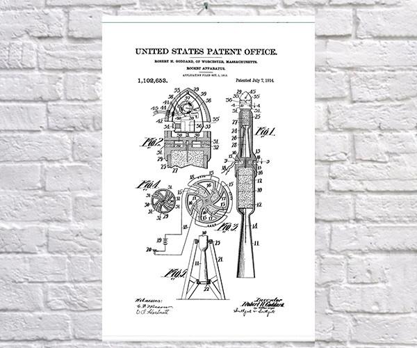 Постер BEGEMOT Патент-чертеж Ракета 40x61 см Белый (1120557)