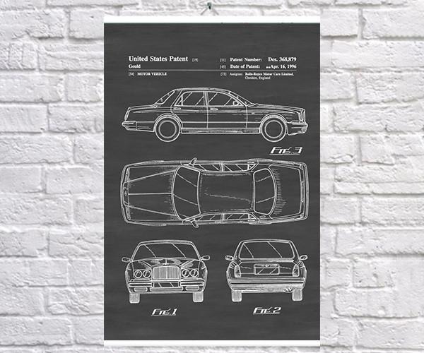 Постер BEGEMOT Патент-чертеж Автомобиль Rolls-Royce 40x61 см Черный (1120558)