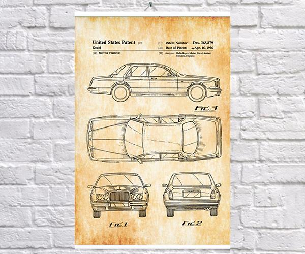 Постер BEGEMOT Патент-чертеж Автомобиль Rolls-Royce 40x61 см Желтый (1120559)