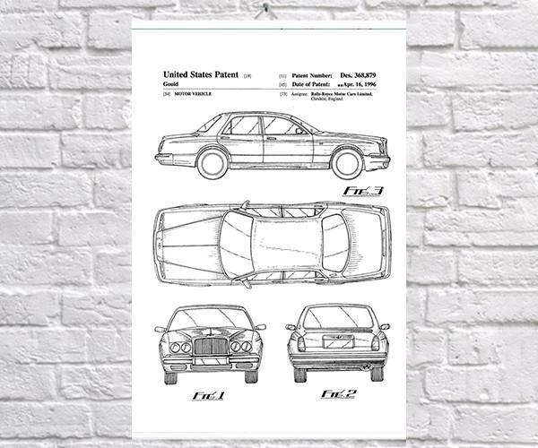 Постер BEGEMOT Патент-чертеж Автомобиль Rolls-Royce 40x61 см Белый (1120560)