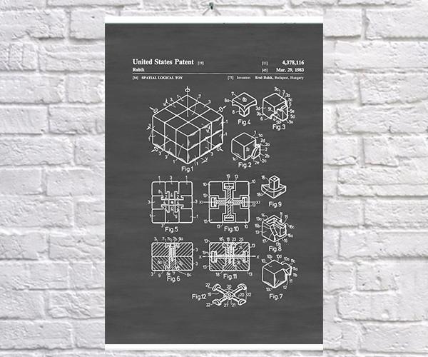 Постер BEGEMOT Патент-чертеж Кубик Рубика 40x61 см Черный (1120562)