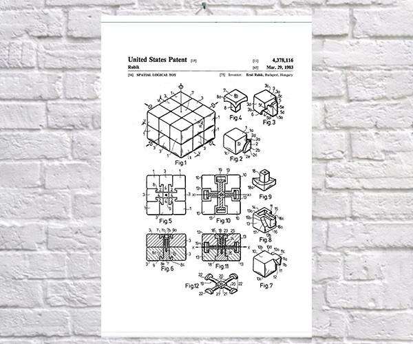 Постер BEGEMOT Патент-чертеж Кубик Рубика 40x61 см Белый (1120564)