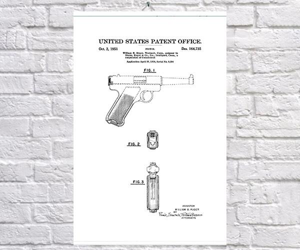 Постер BEGEMOT Патент-чертеж Пистолет Ruger MK1 40x61 см Белый (1120569)