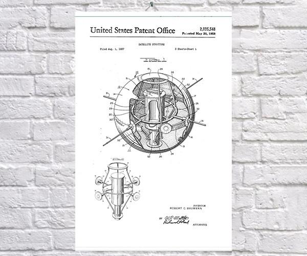 Постер BEGEMOT Патент-чертеж Структура спутника 40x61 см Белый (1120572)