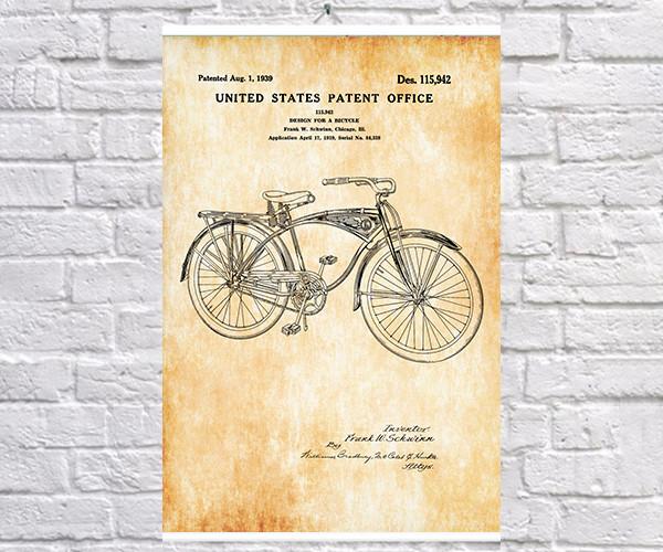 Постер BEGEMOT Патент-чертеж Велосипед Schwinn 40x61 см Желтый (1120579)