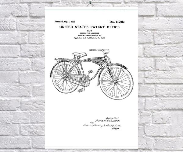 Постер BEGEMOT Патент-чертеж Велосипед Schwinn 40x61 см Белый (1120580)