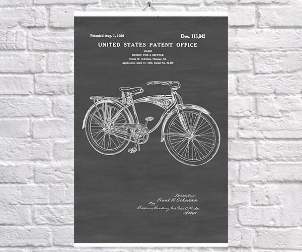 Постер BEGEMOT Патент-чертеж Велосипед Schwinn 40x61 см Черный (1120581)