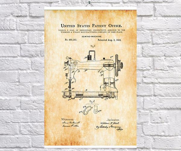 Постер BEGEMOT Патент-чертеж Швейная машина 40x61 см Желтый (1120584)