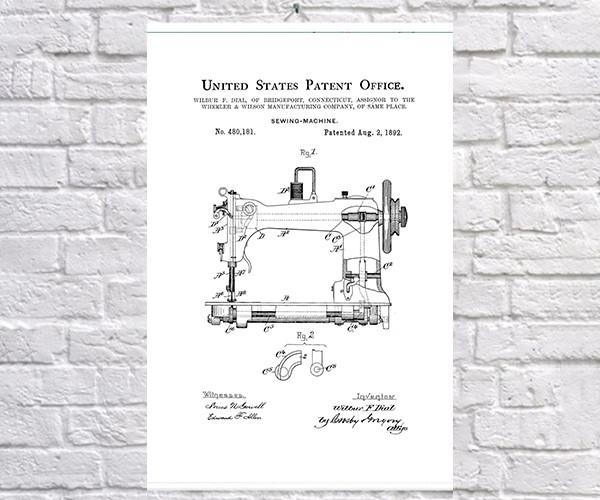 Постер BEGEMOT Патент-чертеж Швейная машина 40x61 см Белый (1120585)