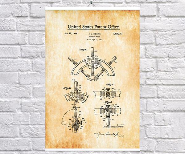 Постер BEGEMOT Патент-чертеж Штурвал 40x61 см Желтый (1120590)