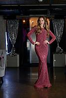 Платье женское в пайетку  длинное с рукавом