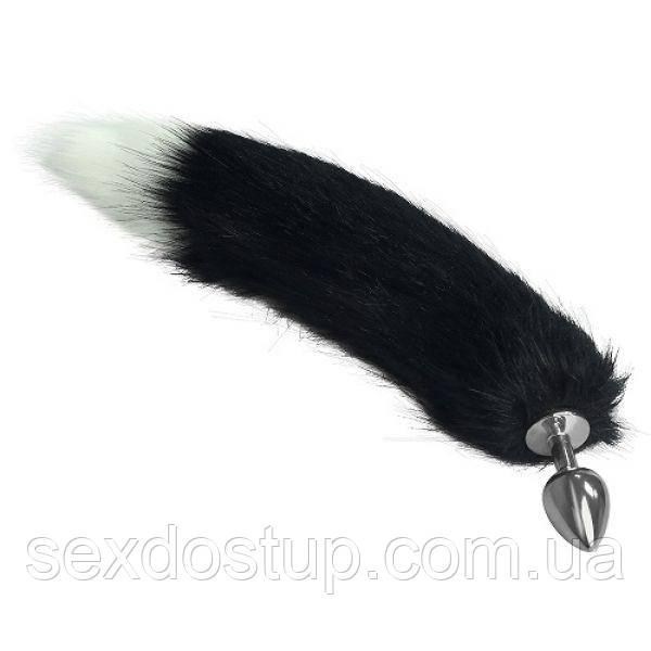 Прозрачная анальная втулка с черным хвостом