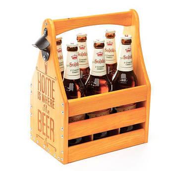 """Ящик для пива BST PPK-07 """"После тяжелого"""" для 6 бутылок пива 0,5 л. 26х18х34 см. (подарок для любителей пива)"""