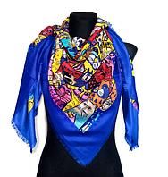 Яркий платок Кошки, синий, фото 1
