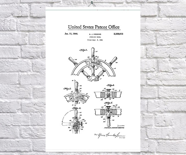 Постер BEGEMOT Патент-чертеж Штурвал 40x61 см Белый (1120593)