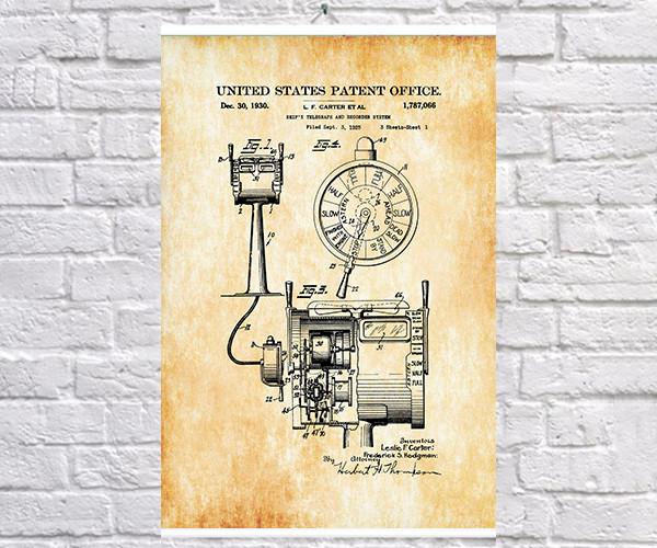 Постер BEGEMOT Патент-чертеж Корабельный телеграф 40x61 см Желтый (1120594)