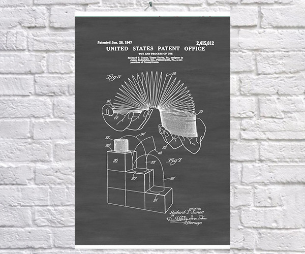 Постер BEGEMOT Патент-чертеж Игрушка пружина 40x61 см Черный (1120602)