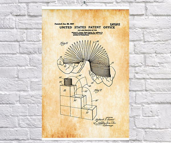 Постер BEGEMOT Патент-чертеж Игрушка пружина 40x61 см Желтый (1120603)