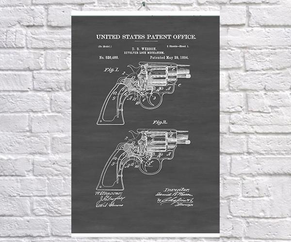Постер BEGEMOT Патент-чертеж Револьвер Smith and Wesson 1894г 40x61 см Черный (1120608)