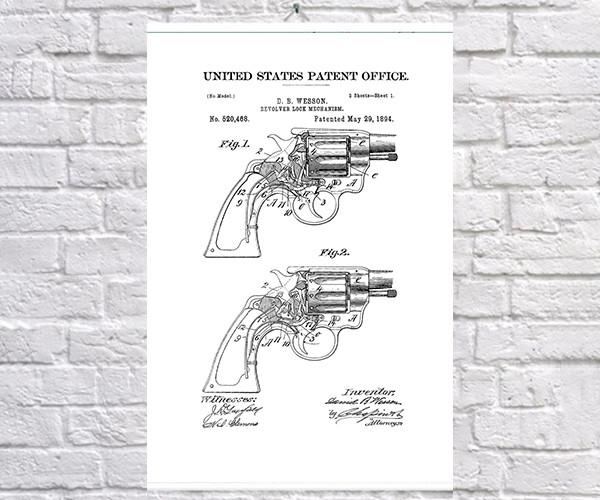 Постер BEGEMOT Патент-чертеж Револьвер Smith and Wesson 1894г 40x61 см Белый (1120609)