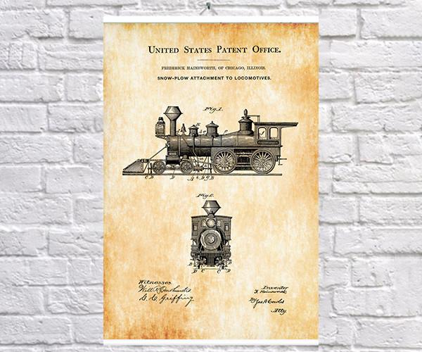 Постер BEGEMOT Патент-чертеж Паровой локомотив 40x61 см Желтый (1120616)