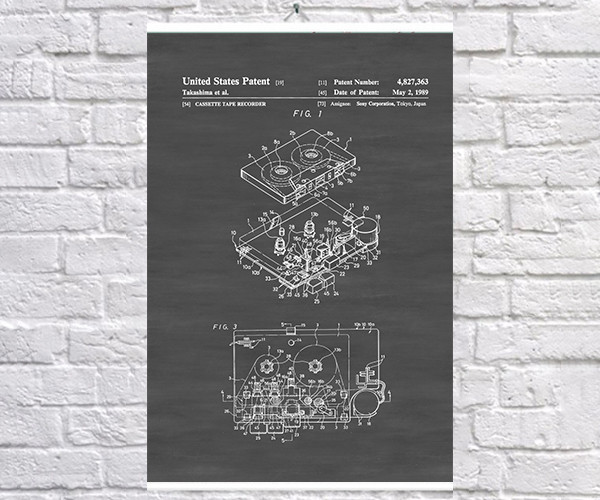 Постер BEGEMOT Патент-чертеж Плеер и кассета Sony Walkman 40x61 см Черный (1120618)