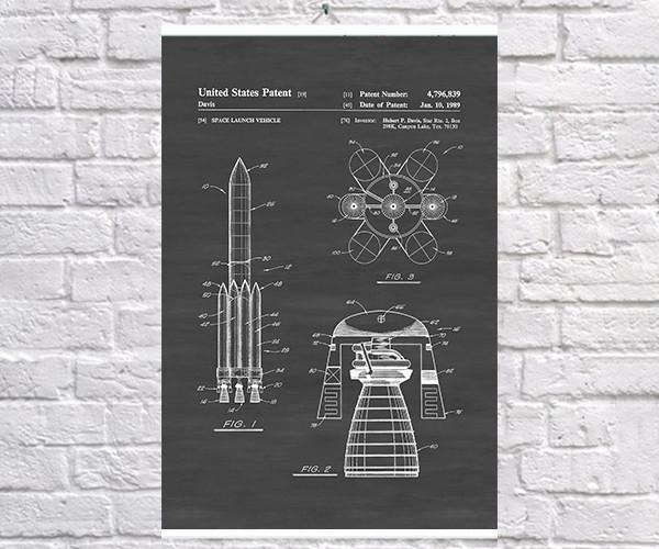 Постер BEGEMOT Патент-чертеж Ракетоноситель 40x61 см Черный (1120624)