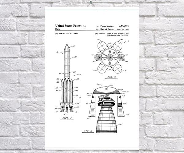 Постер BEGEMOT Патент-чертеж Ракетоноситель 40x61 см Белый (1120625)