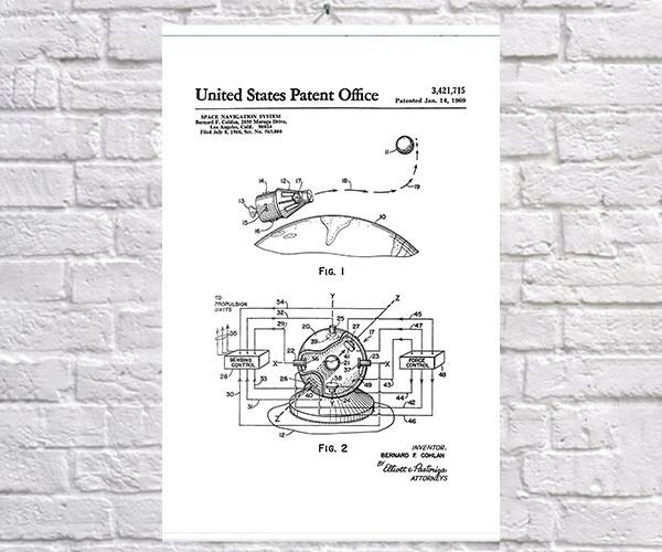 Постер BEGEMOT Патент-чертеж Навигационная система 40x61 см Белый (1120628)