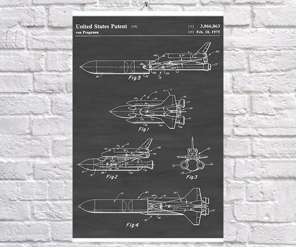 Постер BEGEMOT Патент-чертеж Спейс шаттл 40x61 см Черный (1120630)