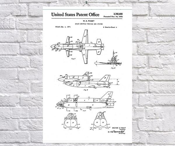 Постер BEGEMOT Патент-чертежТранспортировщик Спейс шаттла 40x61 см Белый (1120636)