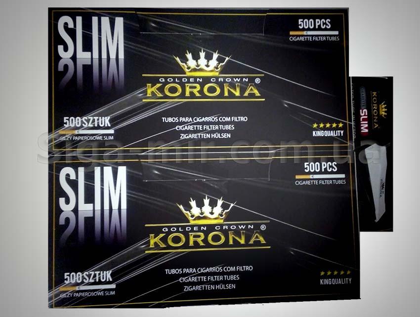 Гильзы для набивки сигарет KORONA SLIM 1000 шт + фирменная машинка Корона Слим Ø 7 мм