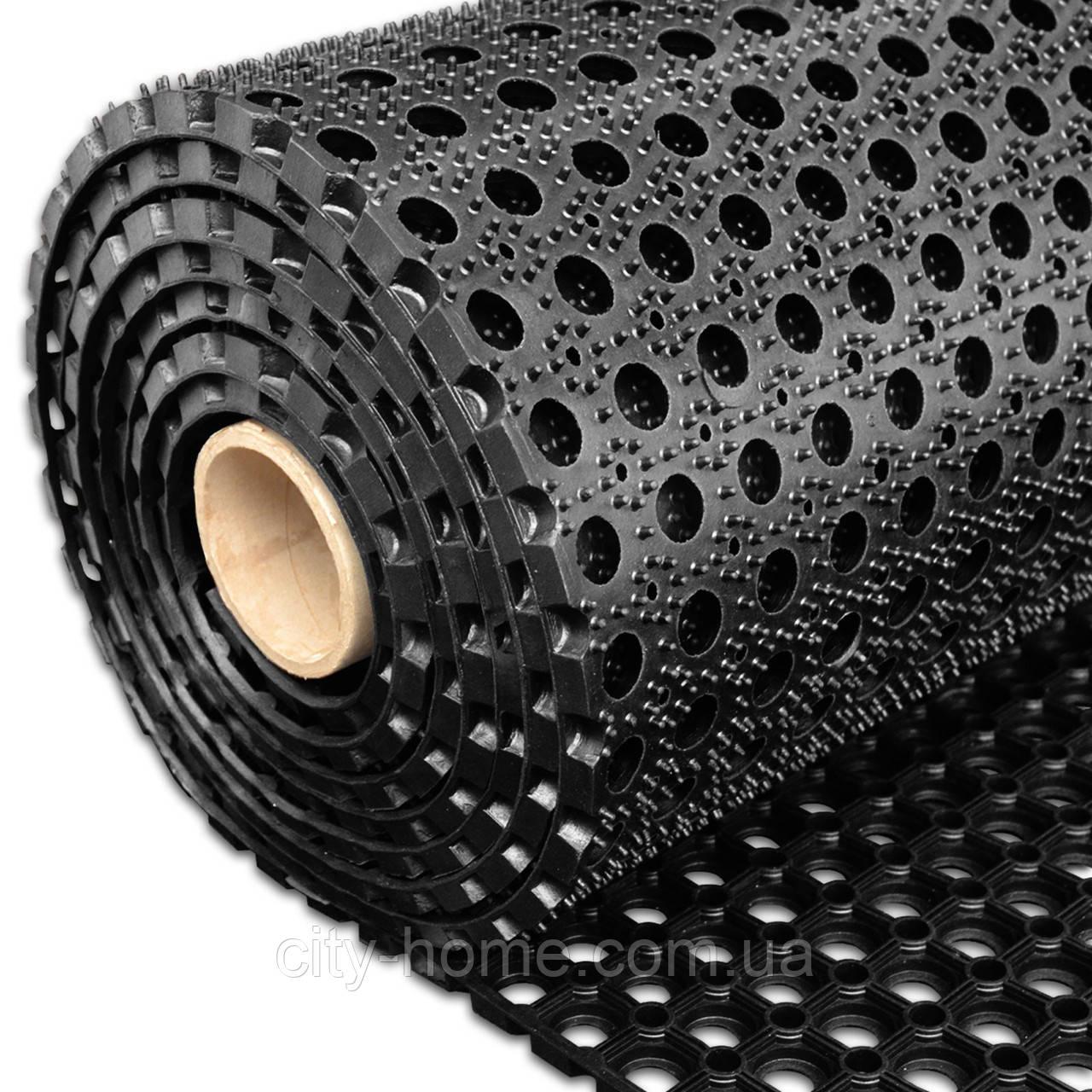 Коврик резиновый сота рулонный 100 х 900 х 1,6 см чёрный
