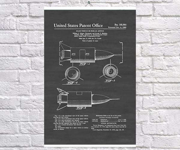 Постер BEGEMOT Патент-чертеж Косм Черныйический корабль 1960г 40x61 см Черный (1120639)