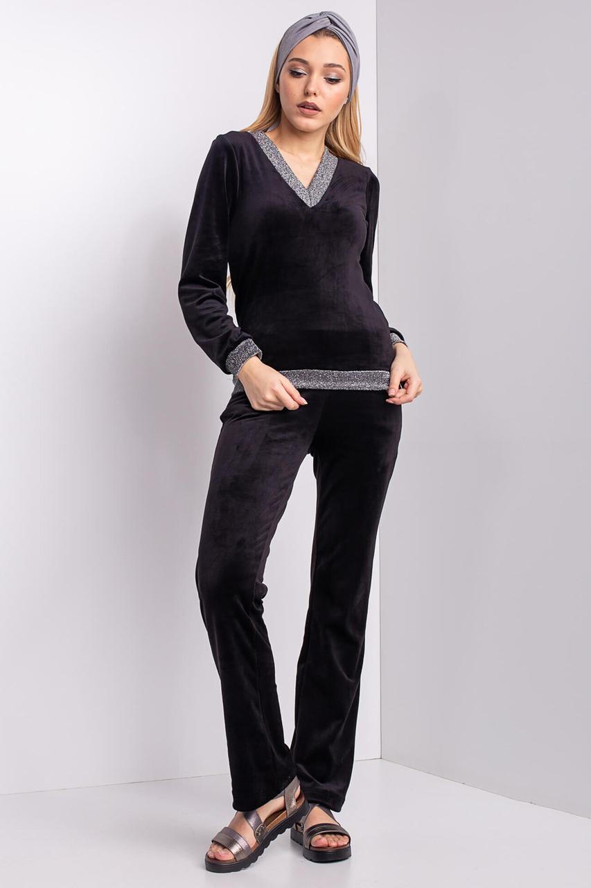 Черный бархатный костюм MICHEL с блестящей отделкой
