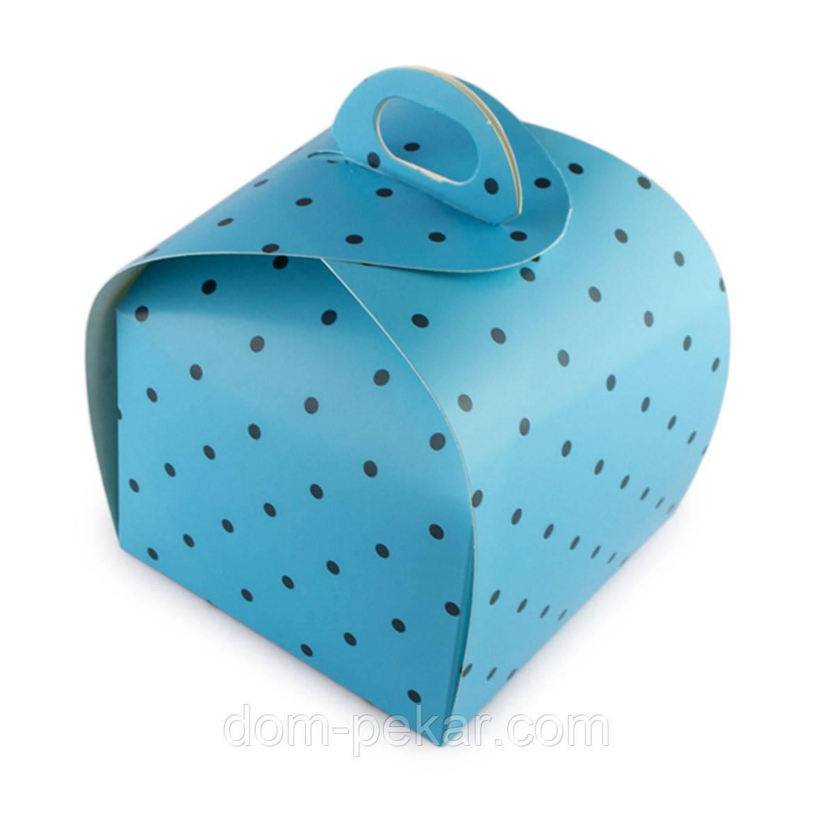 Упаковка универсальная Сундучок Голубой горошек 110*110*110мм