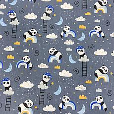 """Польская хлопковая ткань """"Панды с синими и голубыми радугами на темно-сером"""", фото 2"""