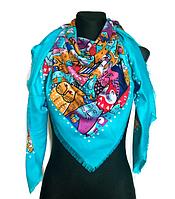 Яркий платок Кошки, бирюзовый, фото 1