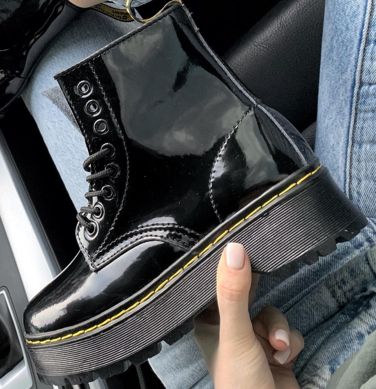 Женские зимние ботинки Dr. Martens Jadon Patent | Platform Boots с мехом