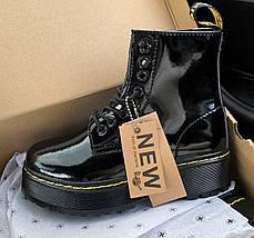 Женские зимние ботинки Dr. Martens Jadon Patent | Platform Boots с мехом, фото 2