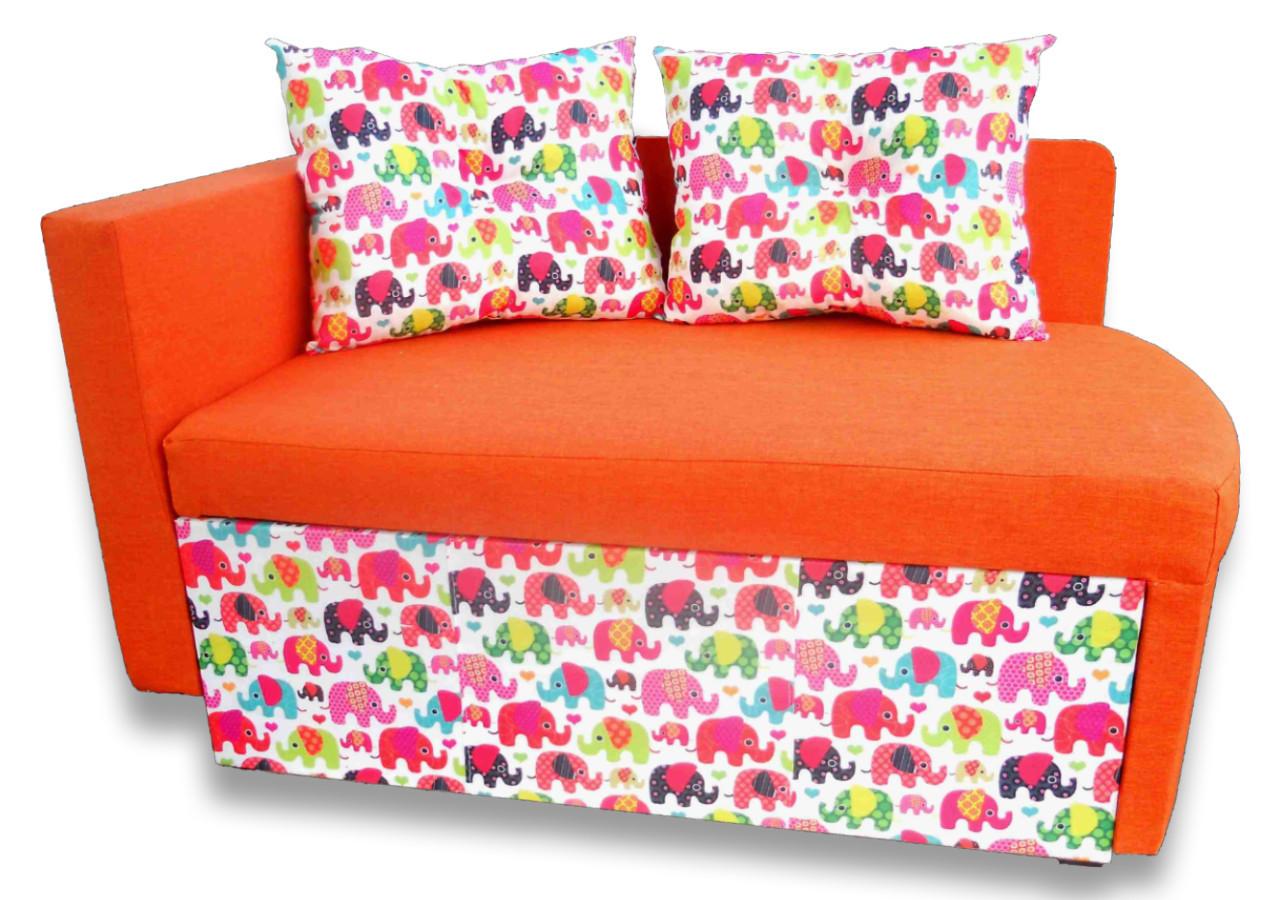 Диванчик Детский Шпех 80см (Слоники+оранж). Диван со спальным местом 2 метра