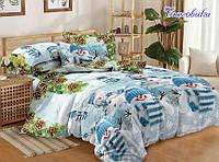 Комплект постельного белья полуторный Снеговики ТМ TAG 1,5-спальный, постельное белье полуторка