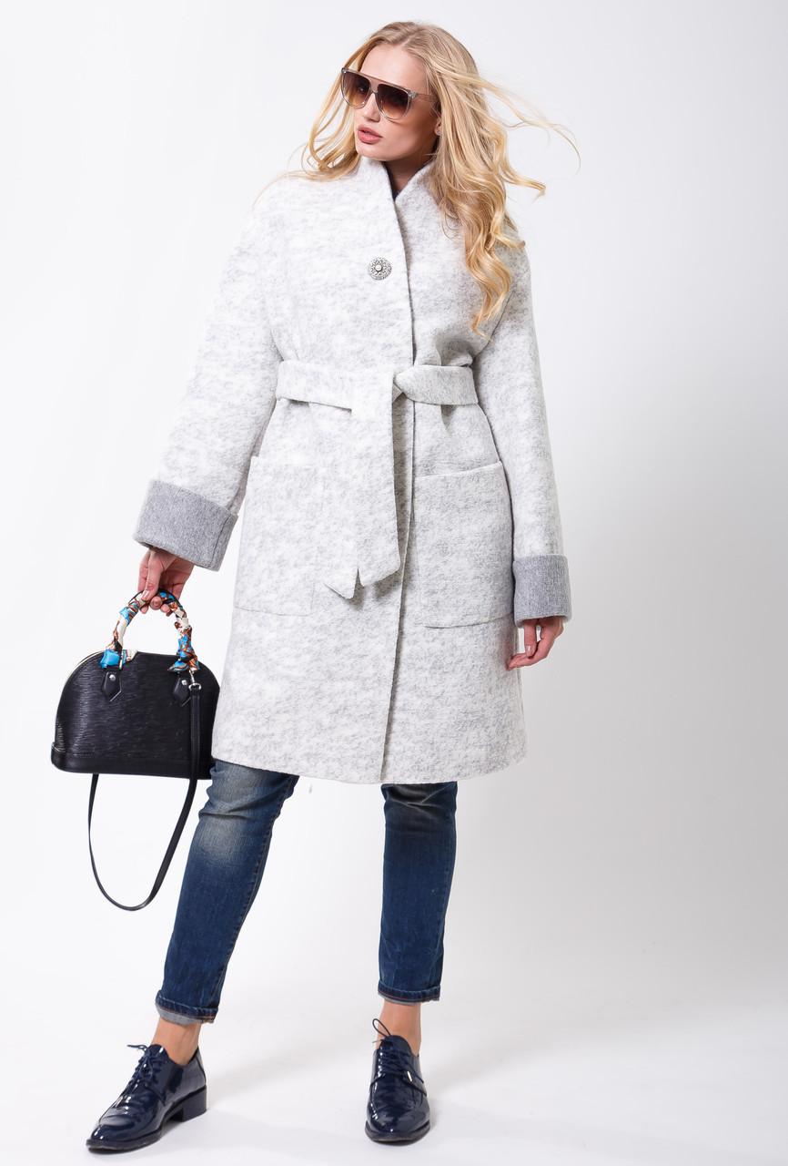 Пальто 2-477L Меланж светло-серый