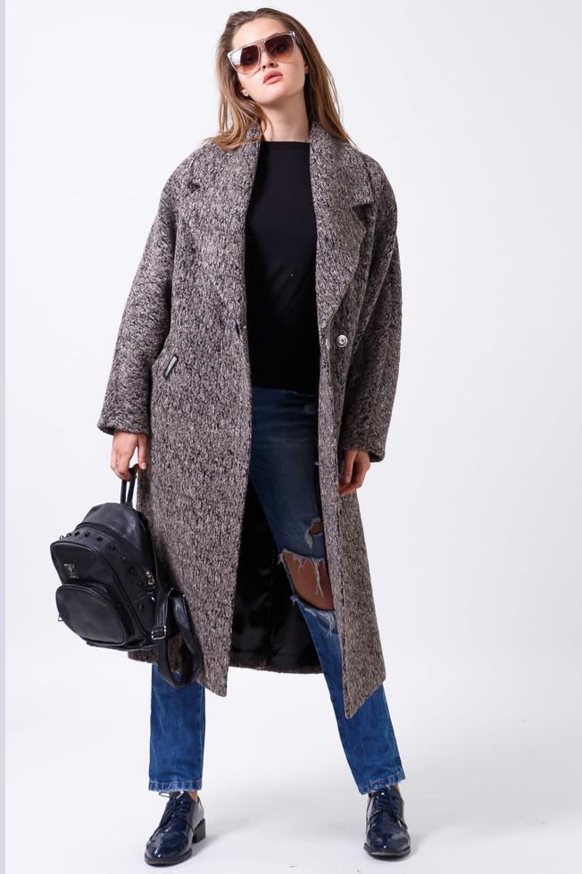 Пальто 2-473L Сіро-коричневий