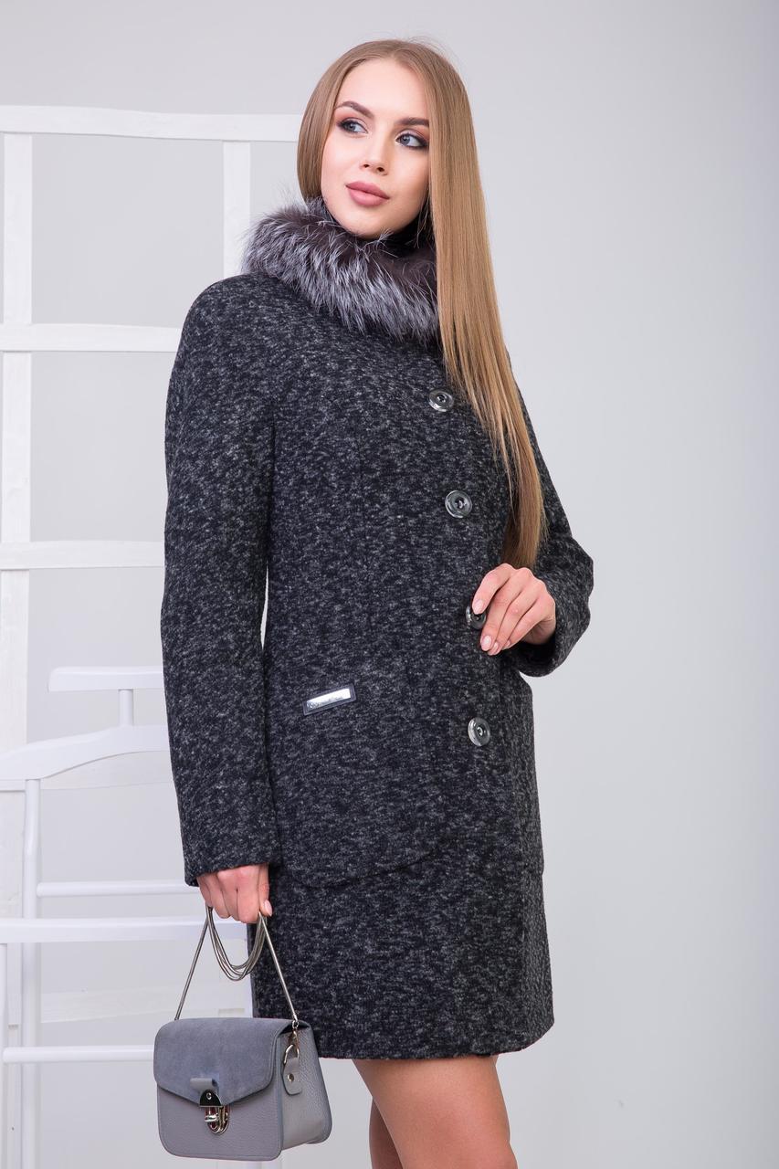 Пальто 1-076 Темно-серый