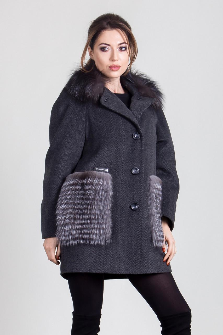 Пальто 1-063П Темно-серый